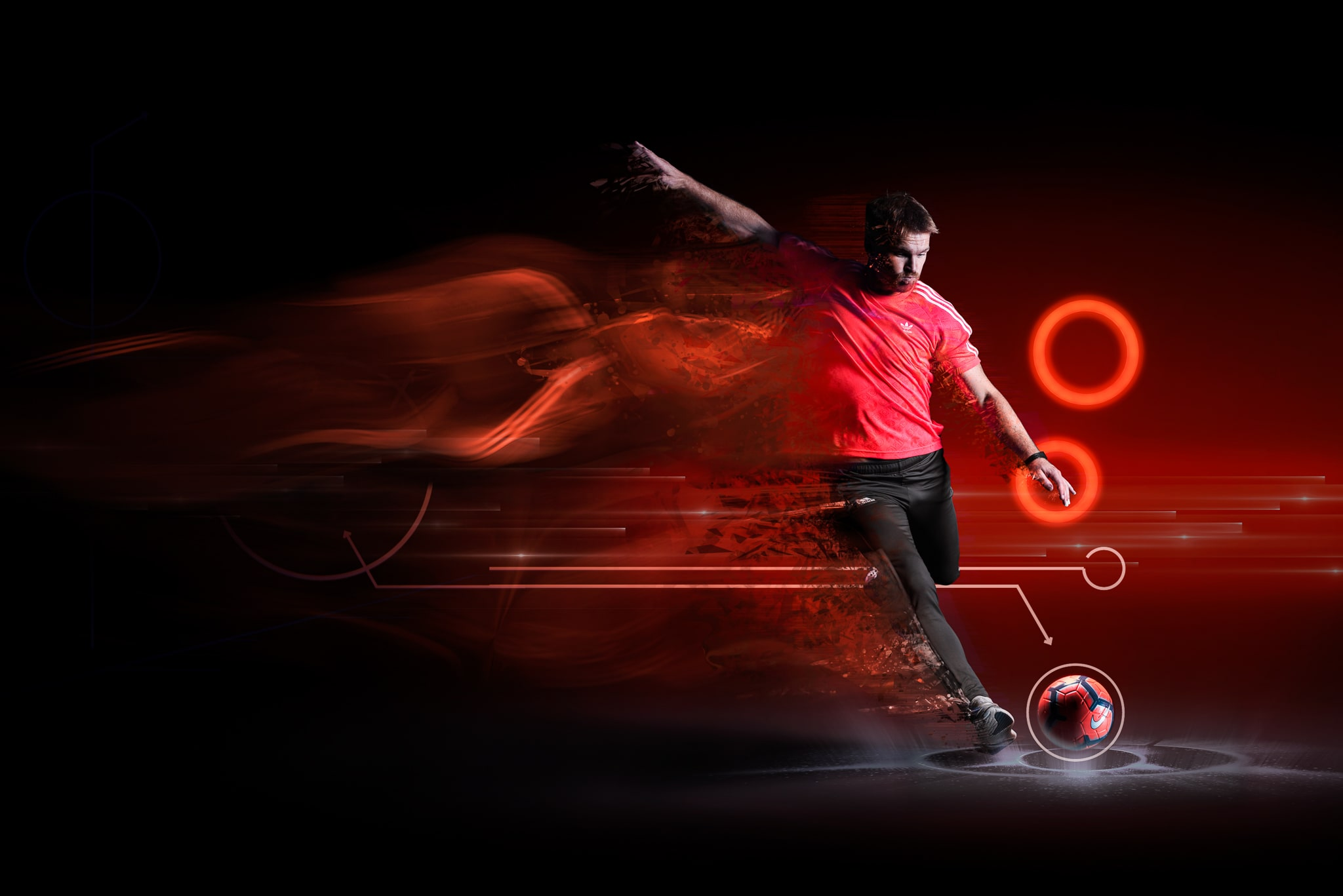 Footballer Kicking Football on Red Circle Background